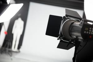 Photo studio with lighting equipment.