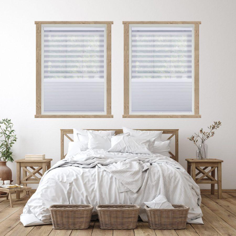 Day/Night shades in a scandanavian interior design bedroom