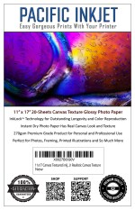 "Pacific Inkjet 11x17"" Canvas Textured Glossy Inkjet Photo Paper"