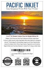 "Pacific Inkjet 11x17"" Cotton Fine Art Bright White Matte Inkjet Paper"