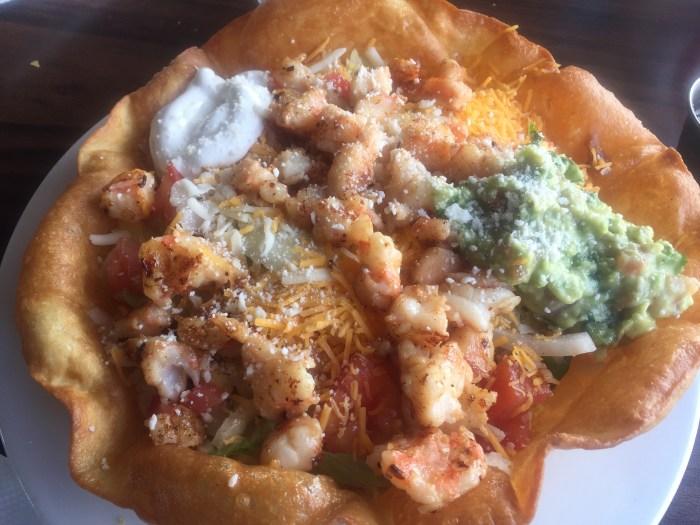 Shrimps taco salad.
