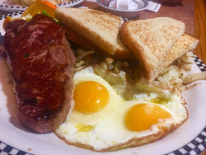 Steak, bread and eggs plate