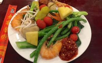Shrimps, tomato, beans, pineapple, chicken drum sticks and mushrooms