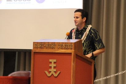 Hawai'i Lieutenant Governor Brian Schatz gave opening remarks at the Pacific Islands Regional Climate Forum on Dec. 10, 2012 at the East-West Center in Honolulu.