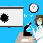 cartoon of Dr. Mimi Guarneri studying covid tests