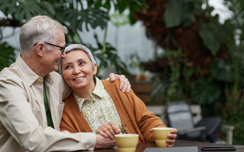 Older couple relaxing to escape stress