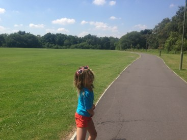Miss 8 goes for a run on my old 'turf'