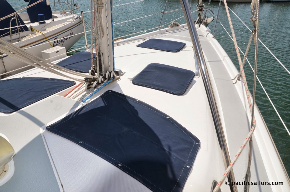 Sunbrella covers for all hatches as well as mesh covers for large deck windows.