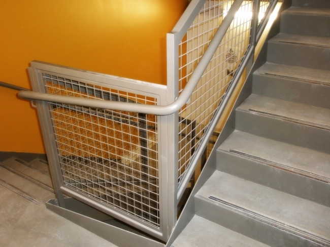 Wire Mesh Rail Pacific Stair Corporation | Wire Mesh Stair Railing | Exterior Perforated Metal | Galvanized Mesh | Staircase | Modern | Mesh Balustrade