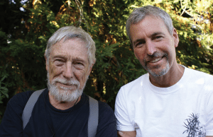 Gary Snyder (left) and Tom Killion have collaborated on three books together. In June, they spoke to a sold-out crowd in Point Reyes Station. Photo by Katsunori Yamazato