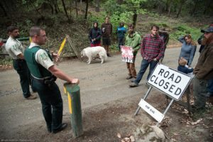 In May, foes of a logging project in Klamath National Forest blocked a logging road to protest the plan. Photo courtesy of Kimberly Baker.