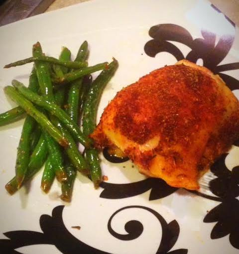 Savory Baked Chicken Thighs and Garlic Lemon Green Beans