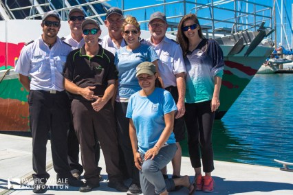 "Boat Club crew left to right: Kiwi Michael, Scottie ""Daimo"", Michael ""who loves pink,"" Stephanie, Selket, Capt. Phil and Laura."