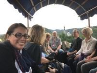 Cristina Castro enjoys a ride on a Pletna