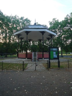 "The bandstand in Hyde Park. The famous trumpeter, Harry Mortimer, described Hyde Park's bandstand as ""uncomfortable, unsanitary, but much loved""."