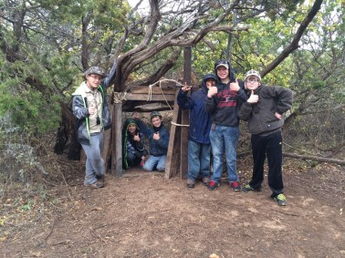 Lots of scouts worked hard to create this doorway and fort at our campsite.