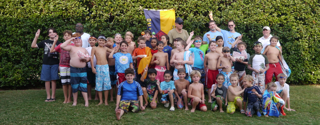 Group shot at annual pool party