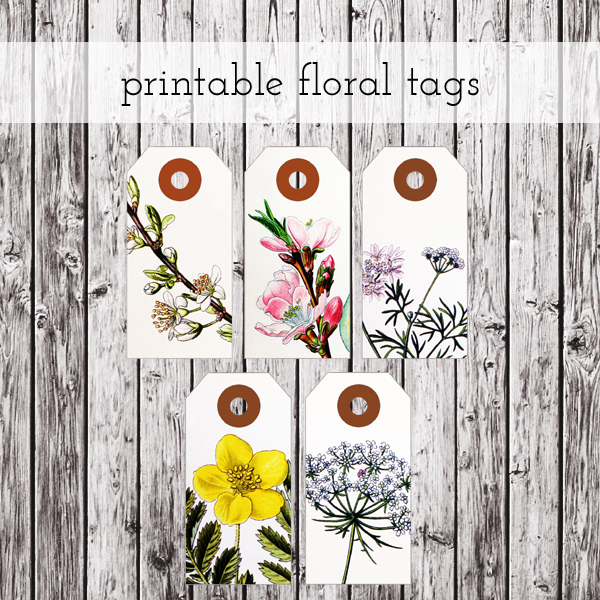 printable floral tags preview