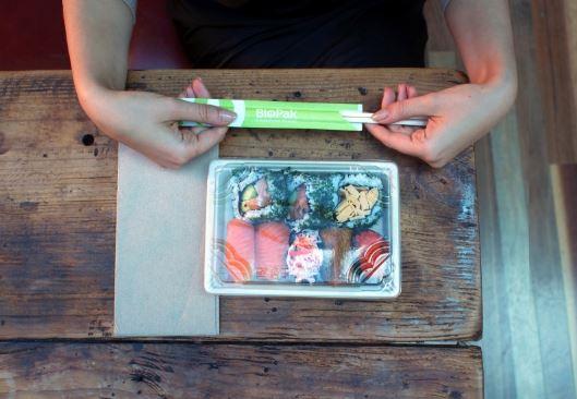Bio-Compostable Sushi tray, Compostable Sushi tray, Sushi Tray, BioPak sushi tray, trays and lids