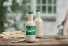 green fiber bottle, paper bottle, beer packaging, carlsberg, 100% bio-based
