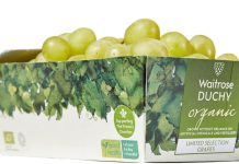 Grape packaging, tonnes of plastic, waitrose duchy organic, cardboard, waitrose