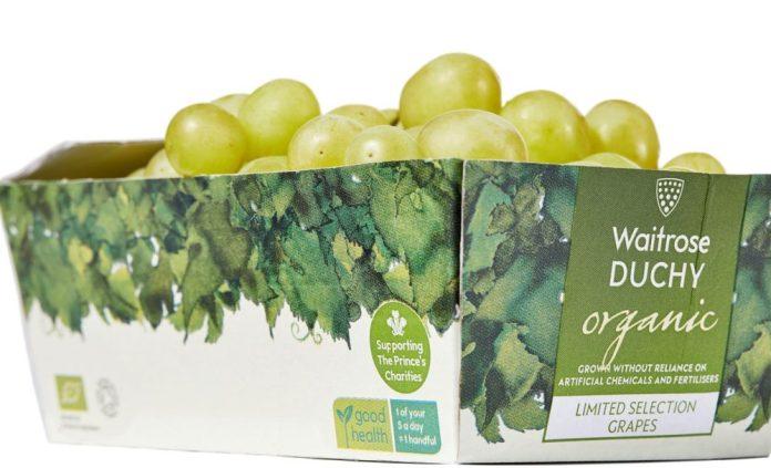 Grape packaging, tonnes of plastic, waitrose duchy organic, cardboard, waitrose