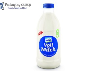 packaging for milk products, NÖM milk bottle, milk bottle made of 100 percent rPET, recycled PET for milk bottle, PET bottles with a high recyclate