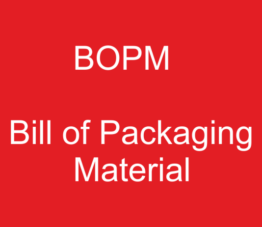 bill of packaging material, single box packing, bill of packaging, BOPM, Bill