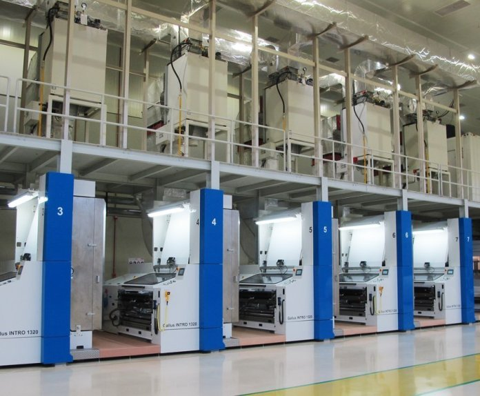 Gallus INTRO 1320 flexo press at the new Uflex Asepto plant in Sanand. Photo PSA