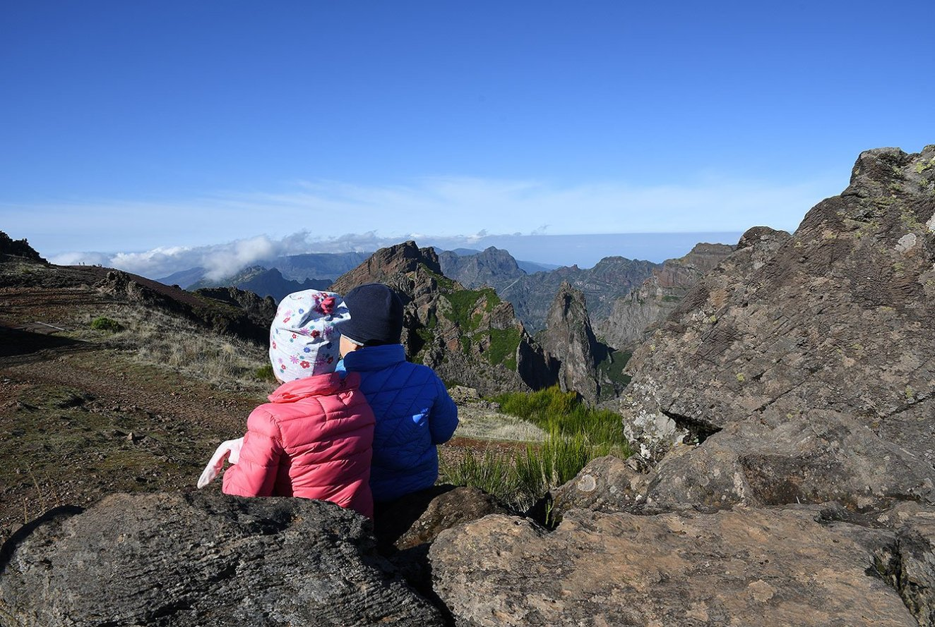 Kids, enjoying the Mountain view in Madeira Island