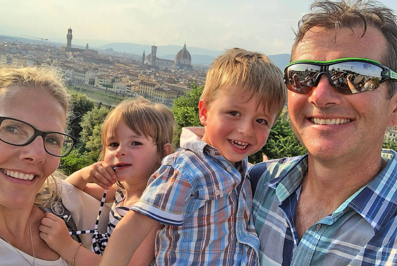 Happy family visiting Florence, Tuscany, Italy
