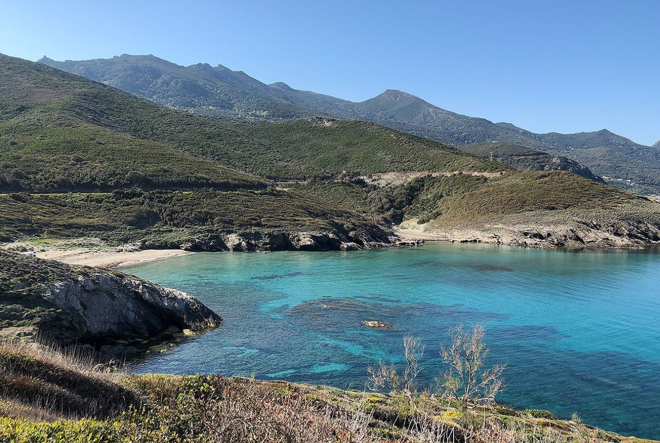 Stunning view in to a tiny bay on the road south from Cap Corse - Corsica - France