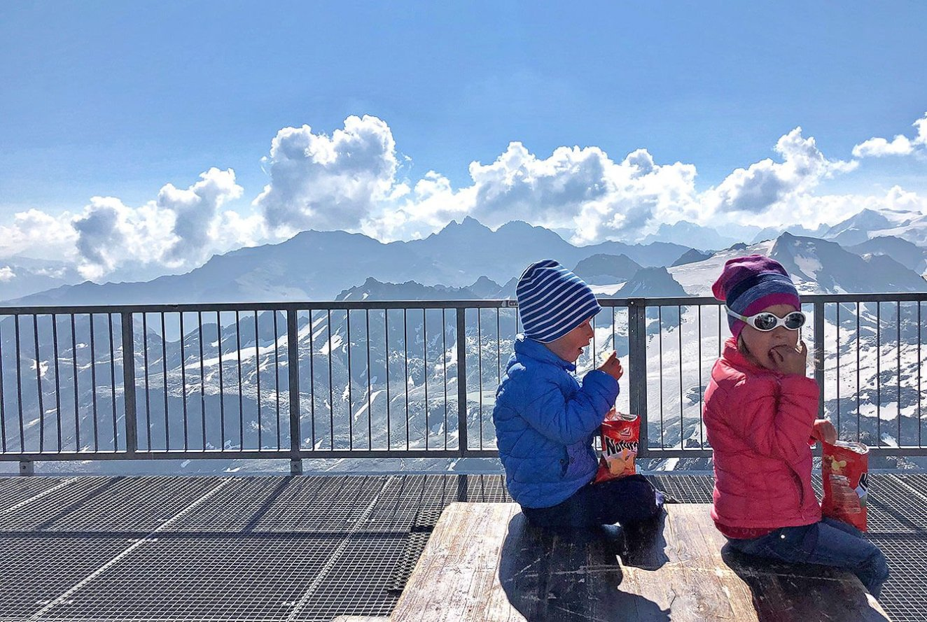 Kids, enjoying chips rather then the view (smile) - Mont Fort