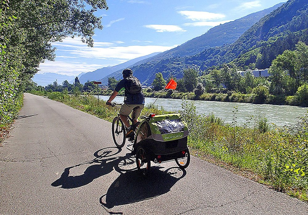 Cycling along the Rhone River in Valais