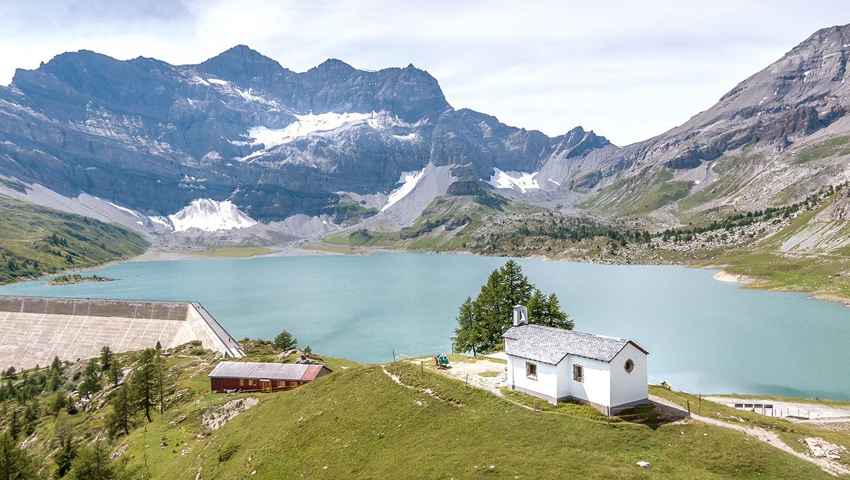 alpine lake with chapel