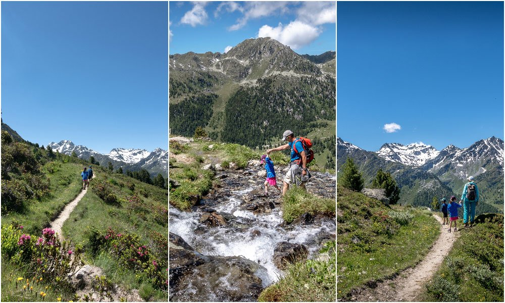 photo collage showing a family hiking on bisse de Chervè in Nendaz