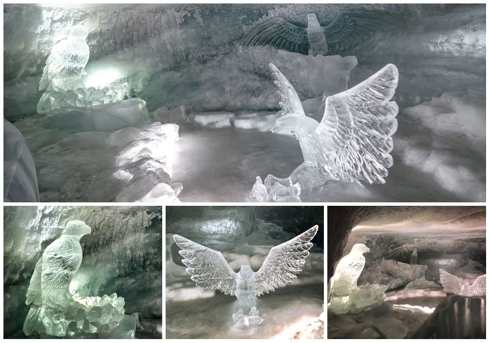 different eagle ice sculptures at the glacier palast