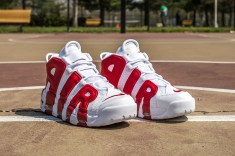 Nike Air More Uptempo white-gym red web crop angle