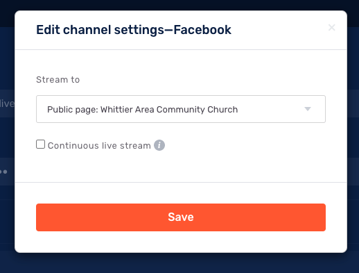 edit channel setting for facebook