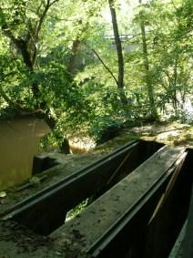 pump house slats over river