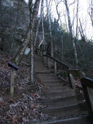 Strenous stairs to waterfall