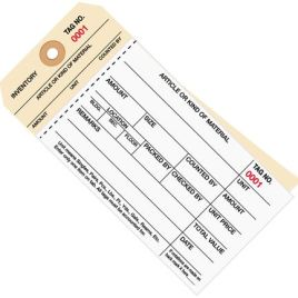 #8 Stub Style 2-Part Carbonless Inventory Tags #1000 – 1499 – Unwired (500/case) $38.78/piece