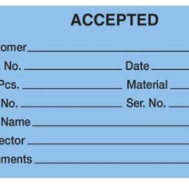 """#5 4 3/4″x2 3/8″ 13 Pt. Blue """"Accepted"""" 1-Part Inspection Tags – Unwired (1000/case) $34.26/piece"""