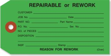 """#5 4 3/4″x2 3/8″ 13 Pt. Green """"Repairable or Rework"""" 1-Part Inspection Tags – Unwired (1000/case) $34.26/piece"""