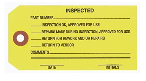 """#5 4 3/4″x2 3/8″ 13 Pt. Yellow """"Inspected"""" 1-Part Inspection Tags – Unwired (1000/case) $34.26/piece"""