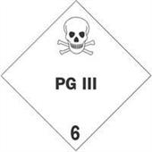 FINAL SALE: #DL5201  4×4″  PG III – Hazard Class 6 Label $14.88/piece