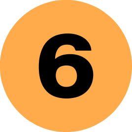 2″ Inventory Numbered Circles #6 Fluorescent Orange $10.04/piece