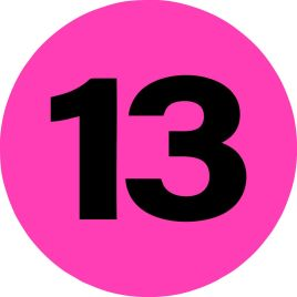 2″ Inventory Numbered Circles #13 Fluorescent Pink $10.04/piece