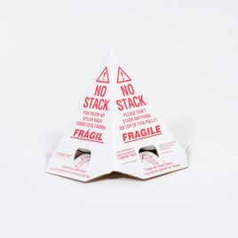 No Stack Pallet Cones  8x8x10 White/Red Tri-Lingual : English, Spanish+French (50/case) $83.82/piece