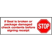 2″x1000 yds. 2.0 Mil Stop If Seal Is Broken Pre-Printed Carton Sealing Tape (6/Case) $189.98/piece